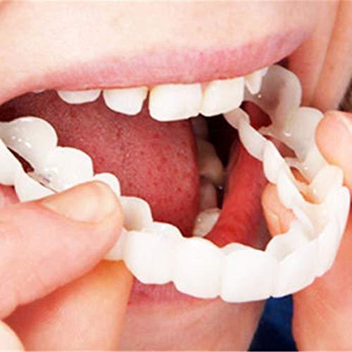 Folwme Design Pratico Uomo Donna Denti Istantaneo Sorriso Perfetto Comfort Fit Denti flettenti Adatto per Un Sorriso sbiancante Denti Finti Cover-White-1 Taglia