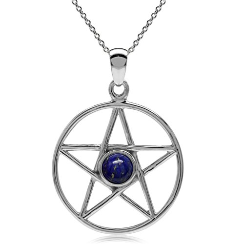 Silvershake Genuine Lapis 925 Sterling Silver Pentagram Star Pendant with 18 Inches Chain Necklace