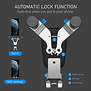 Autkors Car Phone Holder, Air Vent Car Phone Mount 360 Degrees Rotation Auto Lock Cell Phone Cradle Compatible for iPhone 11 Pro XR X XS Max 8 7 6 Plus, Samsung S8 S9 S10, Huawei etc.