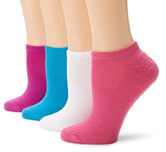 Hanes Women's Fit Comfort Collection No Show Sock, White/Blue Print, 5-9 (Pack of 4)
