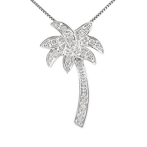 JewelExclusive Sterling Silver 1/10 cttw (I-J,Color, I2-I3 Clarity) Palm Tree Pendant (Silver Tree Palm Pendant)