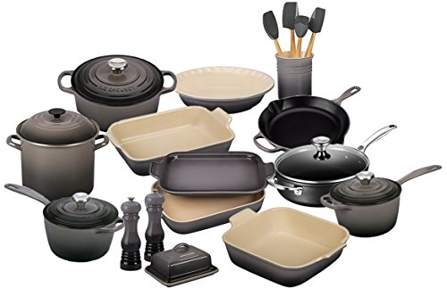 Stoneware Square Baker Covered (Le Creuset 23 Piece Complete Kitchen Set (Oyster))