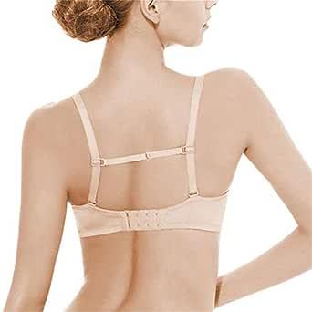 TEHCVIDA Elastic Non-Slip Bra Strap Clips Holder Adjustable & Concealing 3 Pack Women's Beige, Black, White