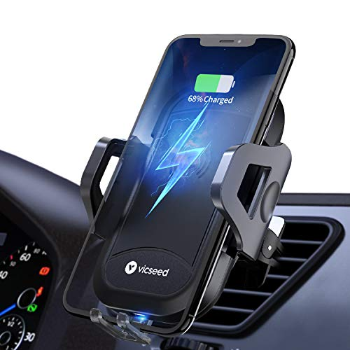 10W 7.5W Qi Fast Charging Air Vent Phone Holder,Compatible with S10+ S10e S9 Note 9 Wireless Car Charger Mount Black Phone Xs Max XR X 8 Plus Car Phone Mount with Air Vent Clip