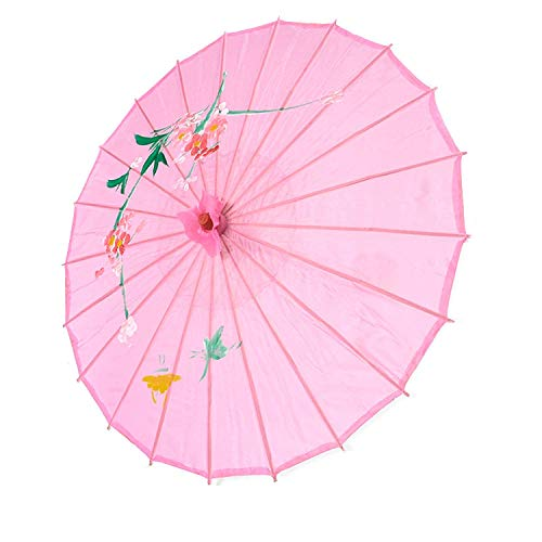 JapanBargain 2170, Japanese Parasol Asian Chinese Nylon Umbrella Parasol for Photography Cosplay Costumes Wedding Party Home Decoration Kids Size, 22 inch, Pink