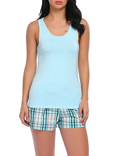 Ekouaer Comfortable Cami Pajama Shorts Set Cotton Sleepwear Two Piece For Women,B(light Blue),Large ()