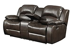 Samara Transitional Reclining Loveseat with Storage Console and Cup Holders