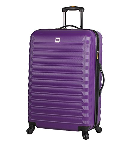 Lucas ABS Mid Size Hard Case 24 inch Rolling Suitcase With Spinner Wheels (24in, Purple)