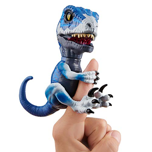WowWee Untamed Raptor - Series 2- by Fingerlings - Frostbite (Dark Blue) - Interactive Collectible Dinosaur