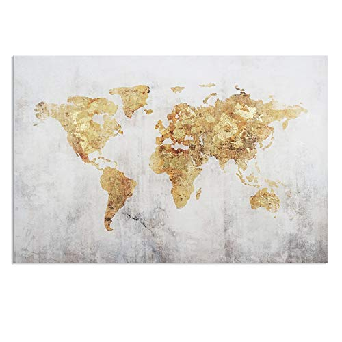 Kas Home Art Vintage Large Gold Foil World Map Wall Art Painting Pictures Print on Canvas Art The Picture for Home Modern Decoration Office Wall Decor (24 x 36 Inch, - Gold Map