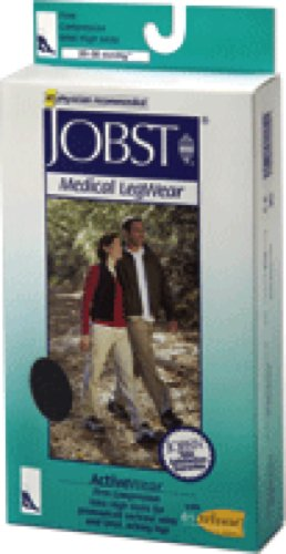 BSN Jobst ActiveWear Knee High Moderate Compression Socks Large, Cool Black, Closed Toe, Unisex, Latex-free (Pair of 2 Each)