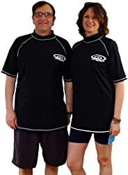 Plus Size Rash Guard Swim Shirt - UV Sun Protection Shirts - 50+ SPF - Short Sleeves - Men and Women (5XL-(58