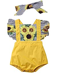 SUPEYA Toddler Baby Girls Floral Ruffled Rompers+Strap Shorts Outfits with Headband