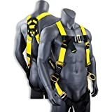 KwikSafety THUNDER | Safety Harness | ANSI OSHA Full Body Personal Fall Protection|1 Dorsal Ring 2 Side D-Rings & Pass Through Buckle Straps | Universal Construction Industrial Tower Roofing Tool