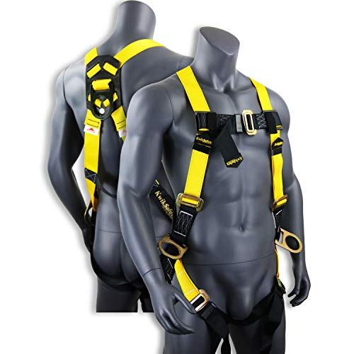 KwikSafety (Charlotte, NC) THUNDER Safety Harness | ANSI OSHA Full Body Personal Fall Protection 1 Dorsal Ring 2 Side D-Rings & Pass Through Buckle Straps Construction Industrial Tower Roofing Tool ()
