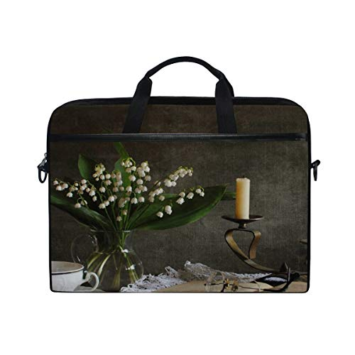 Candlestick Lily - Rh Studio Laptop Bag Lilies of The Valley Bouquet Vase Candles Candlestick Book Glasses Tea Pair Napkin Messenger Bag Case Sleeve for 14 Inch to 15.6 Inch with Adjustable Notebook Shoulder Strap