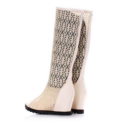 AgooLar Women's Soft Material Zipper Open-Toe Kitten Heels Solid Sandals Beige 4H2PT