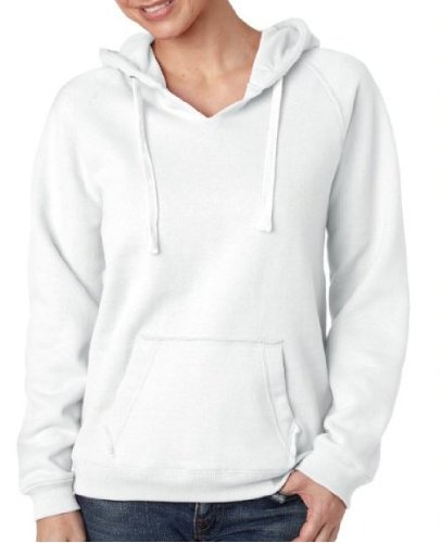 J America Women's Sueded Waistband Hooded Sweatshirt, White, X-Large