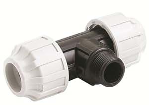 STP fittings 08335336 - Rosca de unión en T de PP con rosca exterior, 32 x 25,4 x 32 mm