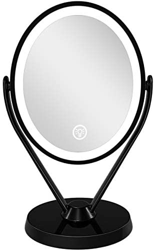 Aesfee Double-Sided 1x 7x Magnification LED Makeup Mirror with Lights, Lighted Vanity Magnified Mirror USB Chargeable, Touch Sensor Control 3 Light Settings Illuminated Countertop Mirrors – Black
