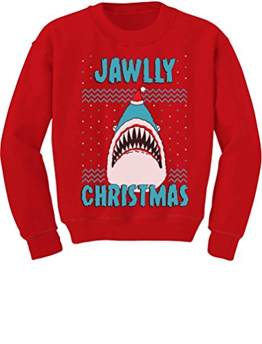 Tstars TeeStars - Jawlly Christmas Ugly Xmas Sweater Party Shark Youth Kids Sweatshirt Small Red - Party Youth Sweatshirt
