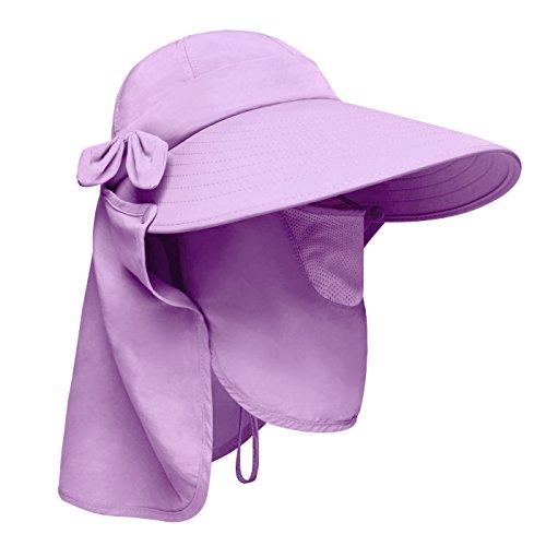 Lenikis Women's UPF50+ Sun Visor Foldable Wide Brimmed UV Protection Hat with Detachable Flaps ()