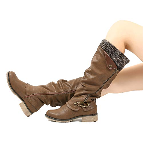 Image of gracosy Leather Knee Boots, Women's Knee High Boot Flat Heel Zipper Buckle Riding Boots
