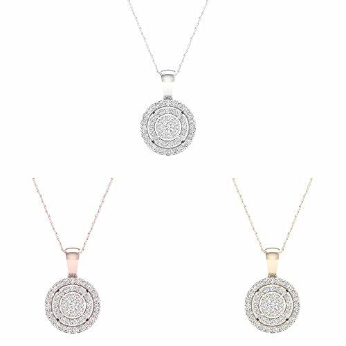 IGI Certified 10K White Gold 1/8Ct TDW Diamond Double Halo Circle Pendant Necklace (I-J,I2)