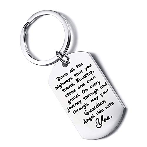 FUSTYLE Jeep Gift Drive Safe Keychain May Your Guardian Angel Ride with You Jeep Lover Gift (car)