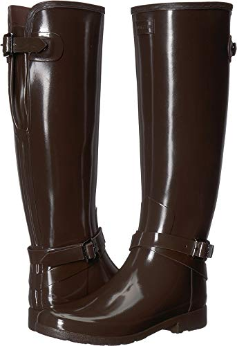 Hunter Women's Refined Adjustable Ankle Strap Gloss Bitter Choc 8 M US