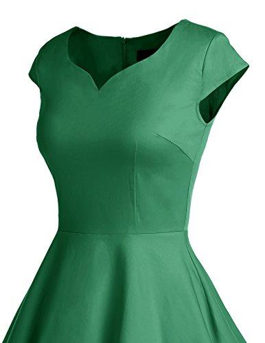 Dresstells®Mujer 1950s Vestido Corto Retro Vintage Con Mangas Cortas Green