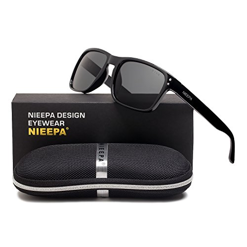 Square Polarized Wayfarer Sunglasses Retro Classic Stylish Brand Design Sports Sun Glasses for Men Women Vintage Driving Fishing 100% UV Protection Glasses (Grey Lens/Bright Black - End Brand Glasses High