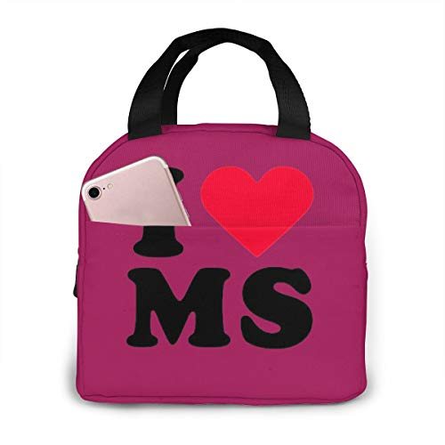 Insulated Lunch Bag, I Love MS Mississippi Lunch Container For School, Travel, Work, Picnic (Best Breakfast In Oxford Ms)
