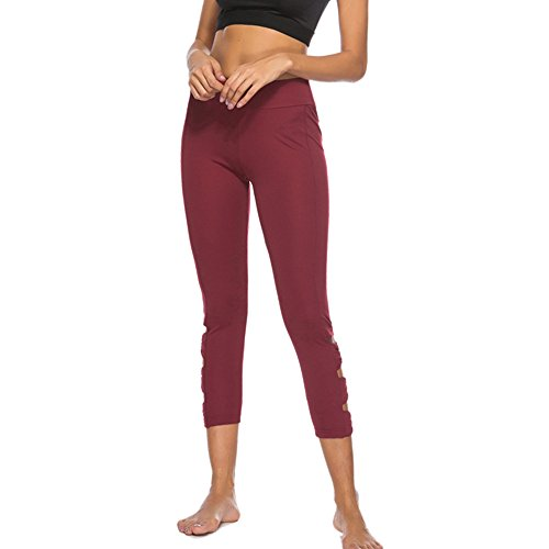 Geetobby Women Leggings Hollow Folds Hips Seven Points Yoga Pants Sport Trousers