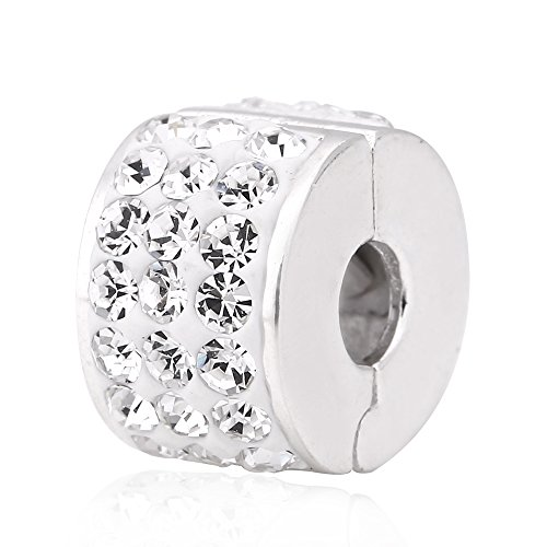 Clear Crystal Clip Charms Authentic 925 Sterling Silver Clip Lock Stopper Beads for European Bracelet - Clip Pandora Sterling Silver
