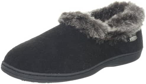 ACORN Women's Faux fur chinchilla Collar Slipper