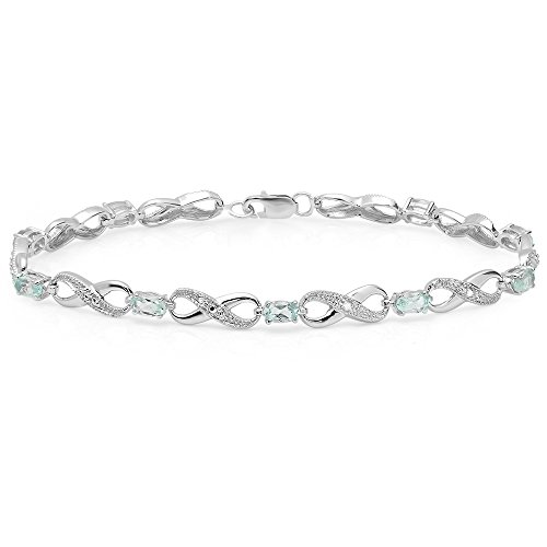 Sterling Silver Oval Blue Topaz & Round Diamond Ladies Infinity Link Tennis Bracelet