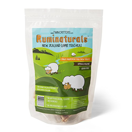 New Zealand Beef Lamb (Lamb Tracheas Value Pack - 20 count - Natural Hypoallergenic Dog Chew Treat - 100% Pure Single Ingredient - Made in New Zealand - Ruminaturals by TwinCritters (20 count))
