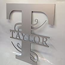 """12"""" Personalized Aluminum Door Hanger Wall Fence Yard Sign Last Name & Initial"""