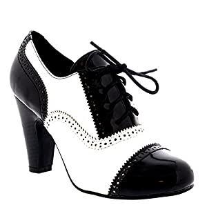 VIVA Femmes Bloc Mi Talon Chaussez Soir Travail Mary Jane Bottines Chaussure – Noir/Blanc Brevet – UK5/EU38 – KL0007B