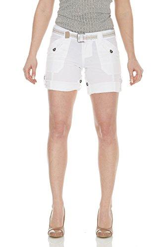 Suko Jeans Womens Convertible Stretch Poplin Bermuda Shorts 47050 White (Convertible Poplin Pant)