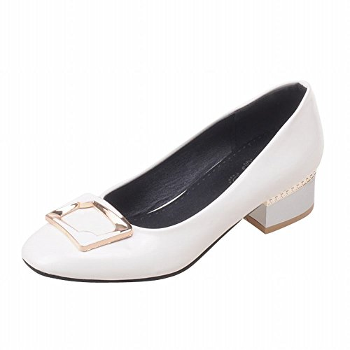Latasa Womens Fashion Synthetic Patent-leather Low Chunky Heel Casual Pumps White t2diTXV