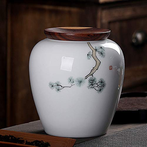 LIZONGFQ Ceramics Urns Adult Funeral Urn Wooden Seal Cover Moisture Proof Handcrafted Cremation Urns for A Small Amount Human Or Pets Ashes,D