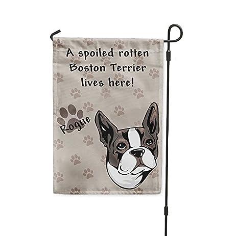 Spoiled Rotten BOSTON TERRIER DOG Lives Here Yard House Banner Garden Flag  Flag U0026 Garden Pole