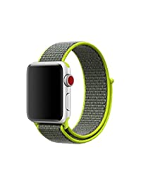 City Amoy New Nylon Sport Loop with Hook and Loop Fastener Adjustable Closure Wrist Strap Replacment Band for iwatch Apple Watch Series 1 /2 / 3 (Sport Loop-Shiny yellow, 42MM)
