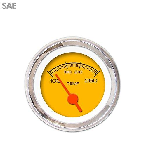 Orange Vintage Needles, Chrome Trim Rings, Style Kit DIY Install Aurora Instruments 3075 Competition Yellow SAE Water Temperature Gauge