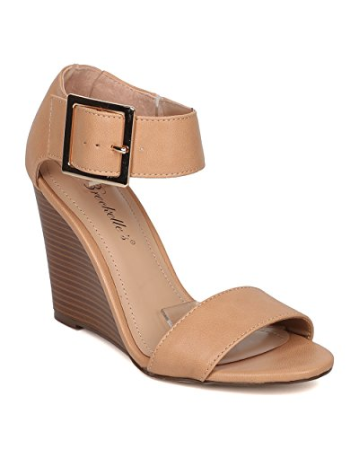 [Breckelle's Carey-05 Natural 8.5 Elegant Sexy Buckle Wedge Sandals] (Sexy Buckle)