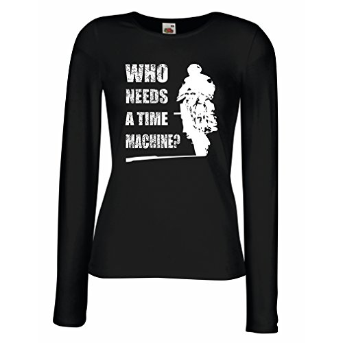 T Shirts for Women Long Sleeve My time Machine! Motorcycle Apparel Motorcycle Art Suits (Medium Black Multi Color)