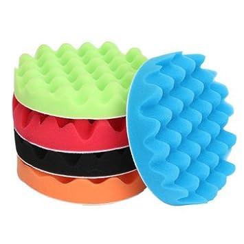 Atoz prime 5pcs 7 Inch Sponge Waffle Polishing Foam Buffing Pads Kit for Car polisher