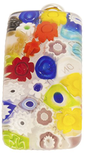Authentic Fused Millefiori Murano Glass Pendant in Transparent Pastels with Silver Tone Bail
